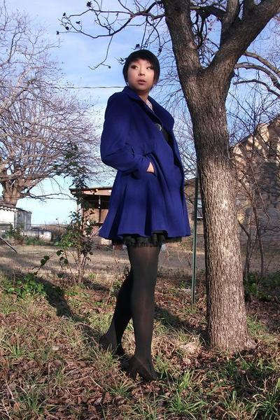 blue Laundry by Shelli Segal coat - black Old Navy shirt - black f21 skirt -