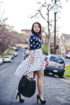 white mullet Lulus skirt - navy polka dots Old Navy sweater