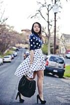 white mullet Lulus skirt - navy polka dots Old Navy sweater