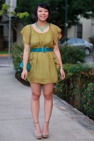 tan strappy Forever 21 shoes - chartreuse ruffled modcloth dress - turquoise blu