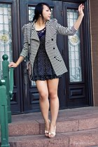 black polka dots Forever 21 dress - white stripes modcloth blazer