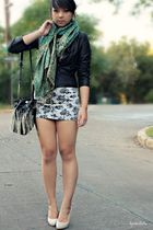 black leather Forever 21 jacket - gray floral dress