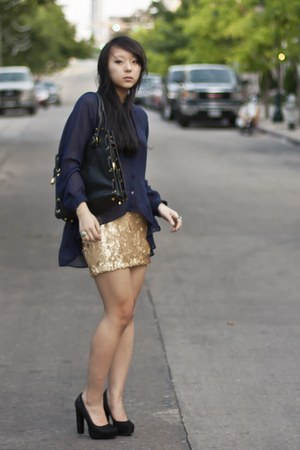 navy sheer Topshop blouse - gold sequin Charlotte Russe skirt