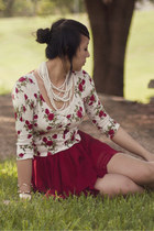 ivory floral Forever 21 shirt - red polka dot lucca couture skirt