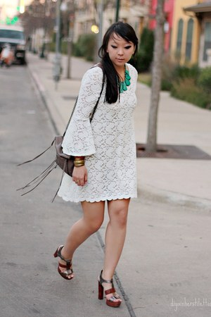 lace lulus dress - fringe Rebecca Minkoff bag - Dolce Vita heels - nude slip For