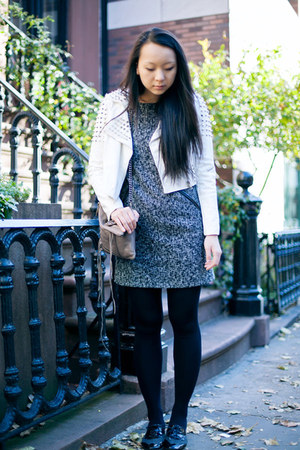 white leather studded jacket - dark gray tweed Loft dress - black oxfords flats