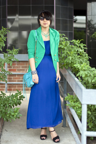 green color blocking GoJane blazer - blue maxi Forever21 dress