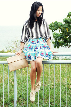 sky blue Ezzentric Topz skirt - tan Superga shoes - neutral Oroton bag
