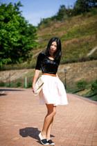 eggshell Oroton bag - black Monki top - light pink vintage skirt