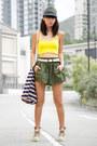 Cream-palladium-boots-army-green-zara-hat-yellow-american-apparel-top