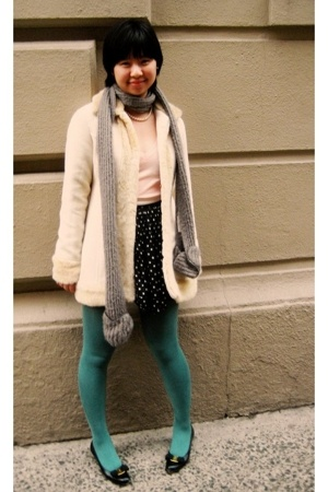 vintage coat - American Apparel t-shirt - tights - Salvatore Ferragamo shoes - E