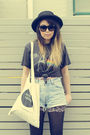 Black-vintage-t-shirt-blue-vintage-shorts-black-vintage-hat-beige-twin-cat
