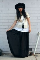 black vintage hat - black DIY shirt - white supre top - beige sass&bide t-shirt