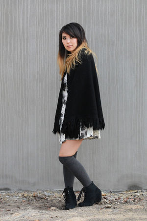 black Twin Cat Vintage jacket - white Twin Cat Vintage dress - gray Ebay socks -