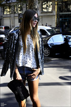 sequined Freda jacket - black Chanel bag - star printed Zara top