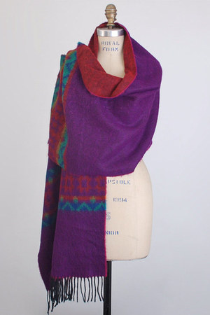 wide long wool vintage scarf