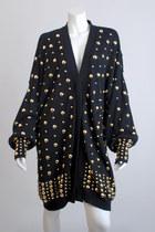 Black-vintage-80s-black-gold-studded-sweater-t-dress