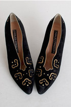 Size 8 1/2 Vintage 80s Maud Frizon Black Suede & Gold Pumps 38.5