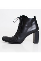 Size 40 Vintage 90s Black Leather Lace Up Boots 9
