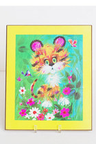 Vintage 60s MOD Tiger Kitty Cat Flower Print