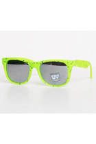 Vintage 90s Neon Green & Black Speckle Sunglasses