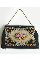 Vintage 50s 60s Floral Embroidered Tapestry Black Leather Handbag