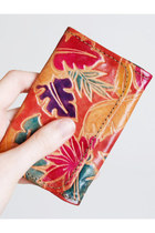 Vintage 70s Tooled Painted Leather Wallet Coin Purse