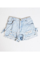 Vintage 90s Light Wash Distressed Denim Shorts Waist 26""