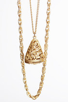 Vintage 70s Gold Metal Fob Pendant Layered Chain Necklace