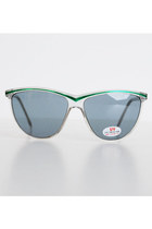 Vintage 80s 90s Clear Green Sunglasses Shades