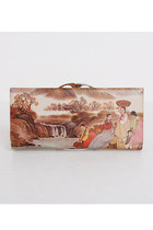Vintage 60s 70s Korean Painting Leather Checkbook Wallet