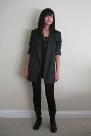 American Apparel shirt - Zara blazer - korean brand leggings - from Korea boots