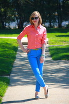 salmon J Crew shirt - sky blue Loft pants