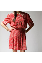 Vintage 80s LULU Red Floral Dress (m - l)