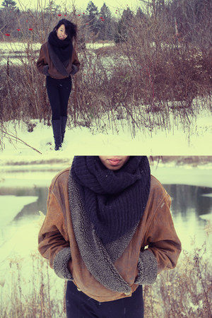 black H&M scarf - dark brown charity shop jacket - black boots
