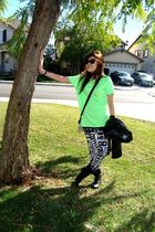 green Topman shirt - white Topshop leggings - white coach bag - black Topshop ja