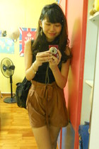 brown suede shorts - bag - asos top - Forever21 earrings