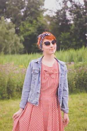 handmade dress - vintage jacket - Chicwish sunglasses