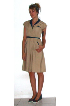 beige Prototype Vintage dress - blue online- zappos shoes - gold clothing swap s