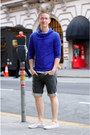 blue hoodie - off white Keds shoes - charcoal gray denim Levis shorts