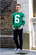 green varsity H&M sweater - light purple Urban Outfitters shoes