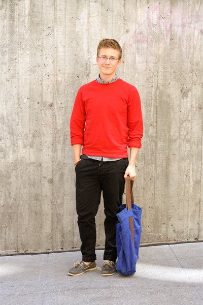 black Topman pants - ruby red American Apparel sweater