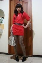 Zara dress - Mango belt - Zara shoes - Guess purse - stockings