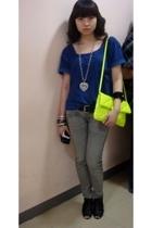 green Mango purse - gray Mango jeans - blue Zara t-shirt