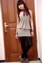 Zara scarf - Body&Soul dress - Zara shoes