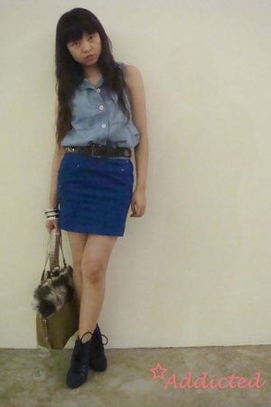 Zara vest - Zara skirt - Mango belt - Guess purse