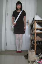 dress - purse - tights - glasses - shoes
