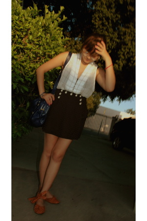 white sheer Zara shirt - brown UO shoes - blue polk-a-dot UO