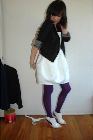 f21 dress - UO blazer - tights - f21 shoes