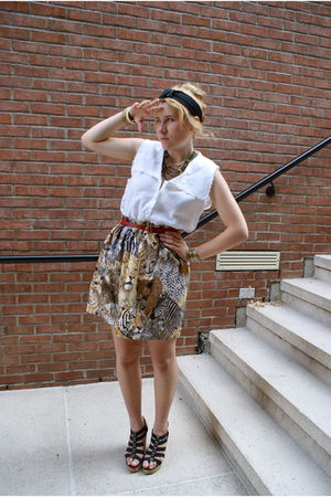black Aldo shoes - brown DIY skirt - white vintage blouse - red vintage belt - b